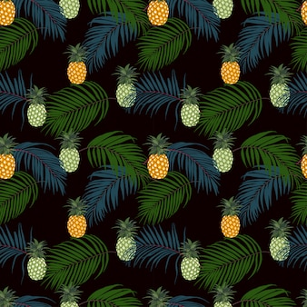 Colorful tropical leaves and pineapple on dark background seamless pattern