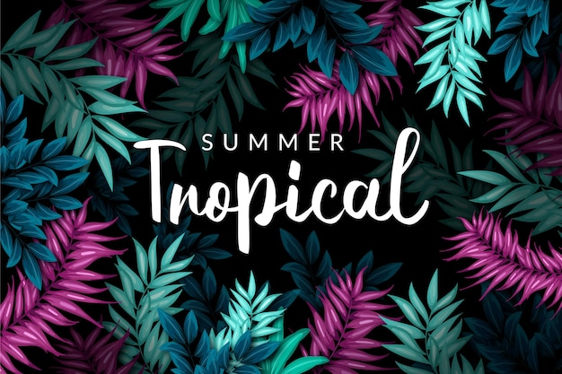 Colorful tropical leaves background with lettering