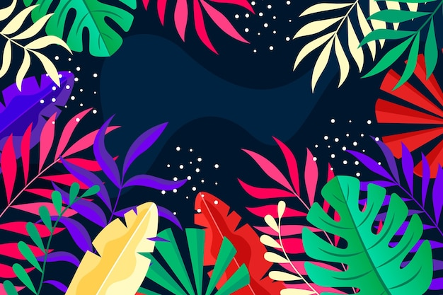 Colorful tropical leaves background