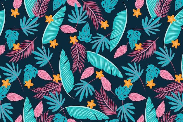 다채로운 열 대 잎 배경