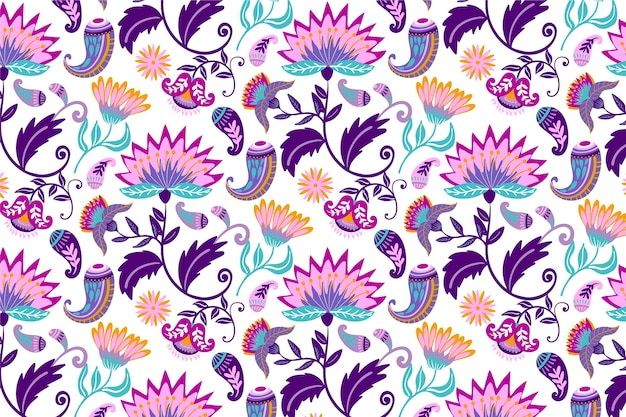 Colorful tropical leaves and flowers pattern