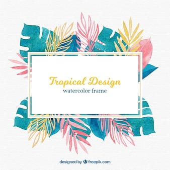 Colorful tropical leaves frame