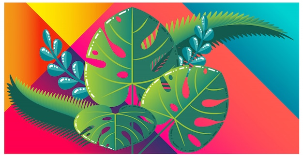 Colorful tropical leaves on vibrant background