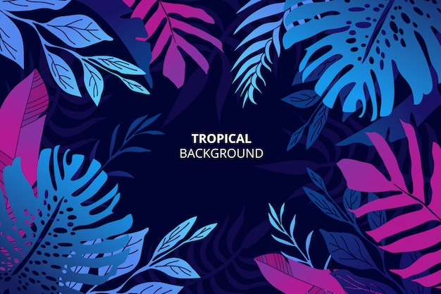 Colorful tropical nature background with hand drawn palm leaves