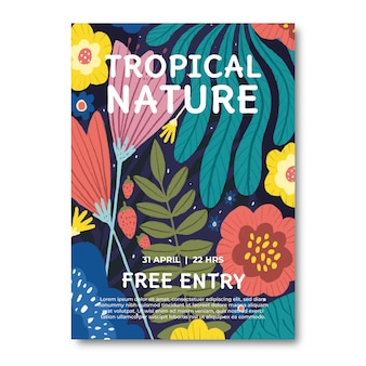 Colorful tropical nature poster template