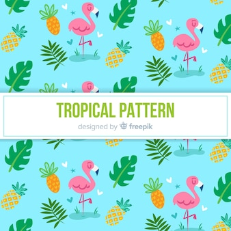 Colorful tropical pattern with flamingos and pineapples