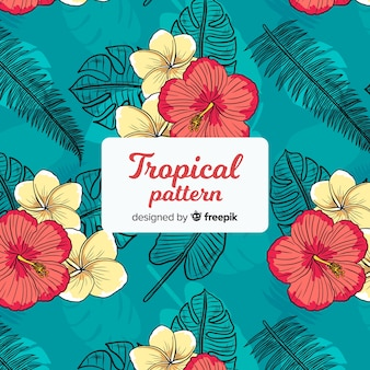 Colorful tropical pattern with flowers