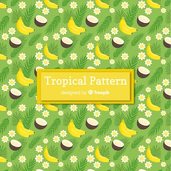 Colorful tropical pattern with fruits