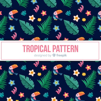 Colorful tropical pattern with tucan and leaves
