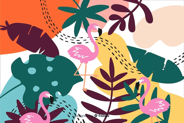 Colorful tropical plants background