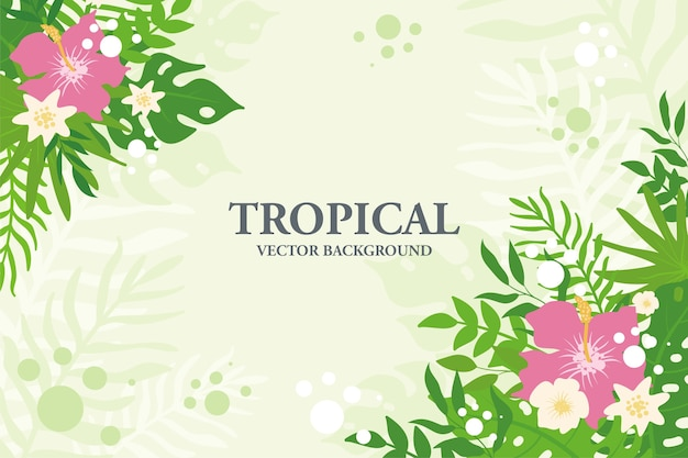 Colorful tropical plants, leaves and flowers background. horizontal floral frame with space for text