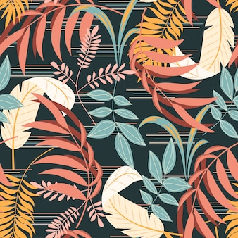 Colorful tropical seamless pattern with plants leaves and abstraction