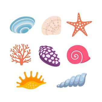 Красочные тропические ракушки подводный значок набор ракушек, векторные иллюстрации. летняя концепция с ракушками и морскими звездами. круглая композиция, морские звезды, природа, водная. векторная иллюстрация.
