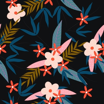 Colorful tropical spring floral seamless pattern