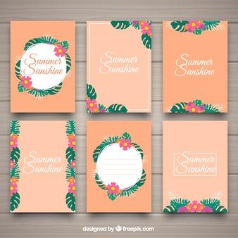 カラフルな熱帯夏のカードコレクション