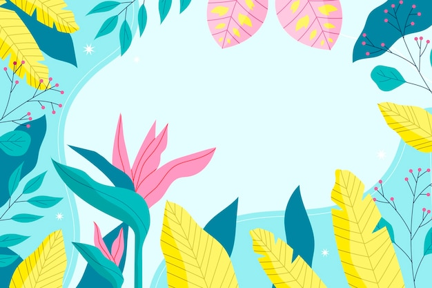 Colorful tropical wallpaper with empty space