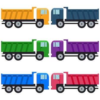Colorful truck carrier element icon game asset