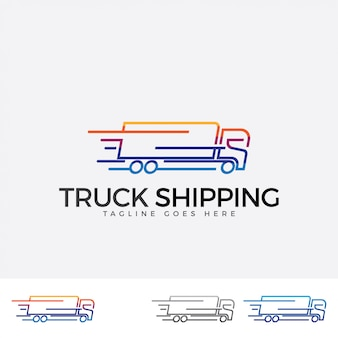 Colorful truck shipping logo dedign.
