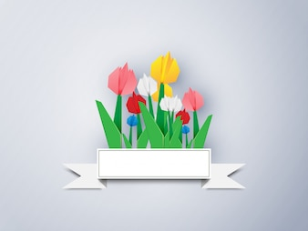 Colorful Tulip Paper On a gray background, Vector illustration