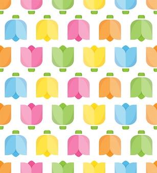 布、包装紙のカラフルなチューリップのシームレスなパターン。