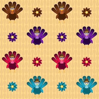 Colorful turkey birds with flowers on yellow geometric background.