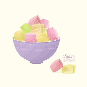 Colorful turkish delight in bowl isolated
