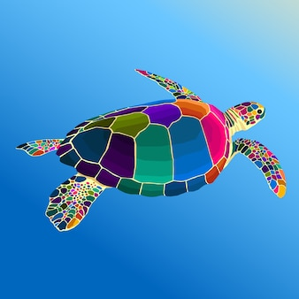 Colorful turle pop art vector style