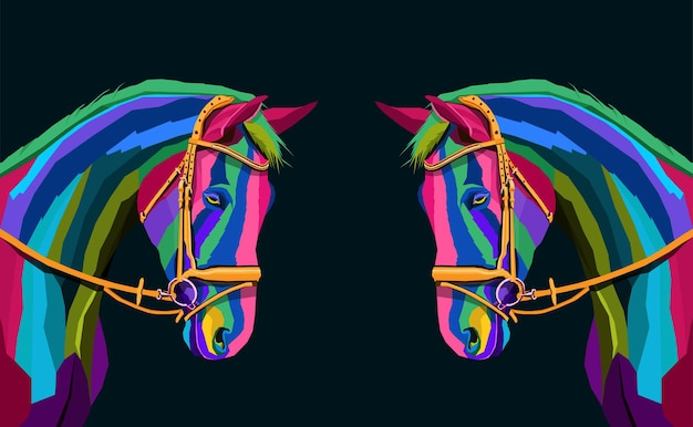 Colorful two horse head with abstract modern geometric pop art