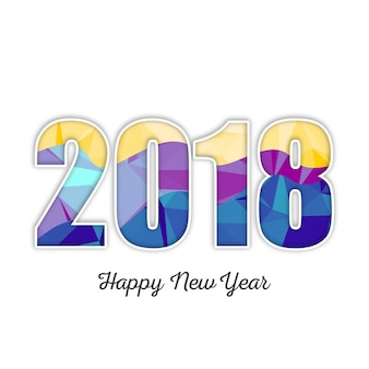 Vector eps 10 многоцветные цифры № 2018 новогодняя креативная дизайнерская карта листовки плакаты баннеры календарь сезоны поздравления happy new 2018 дизайн иллюстрация синий фиолетовый красный розовый цвет 2018