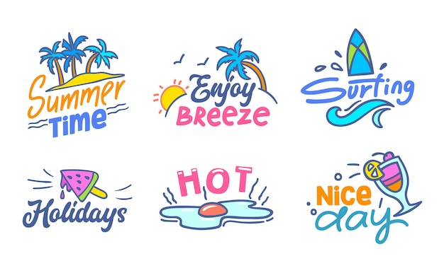 Colorful typography with doodle elements set