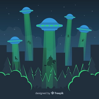 Colorful ufo abduction concept with flat design