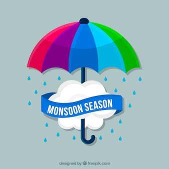 Colorful umbrella background with monsoon cloud