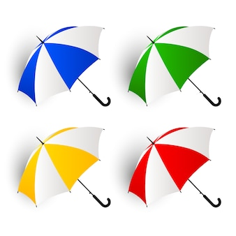 Colorful umbrella collection on white