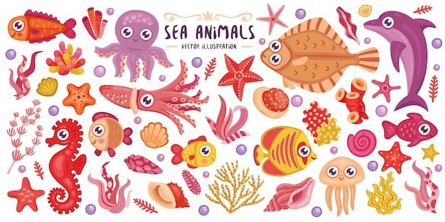 Colorful underwater animals set