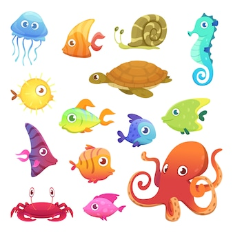 Colorful underwater animals set
