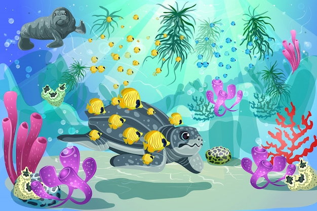 Colorful underwater marine landscape template