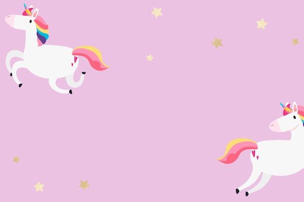 Carta da parati rosa dei cartoni animati di stelle dorate unicorno colorato