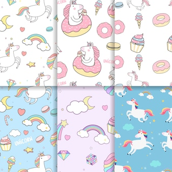 Colorful unicorn seamless pattern background vectors