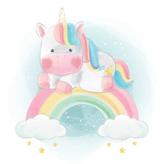 Colorful unicorn sitting above the rainbow