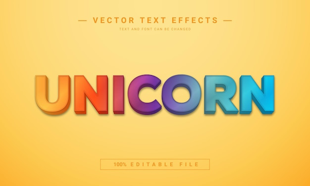 Colorful unicorn text effect