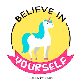 Colorful unicorn with a positive phrase