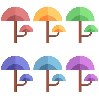 Colorful unique and interesting trees element icon game asset flat illustration
