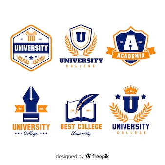Colorful university logo collection with flat design