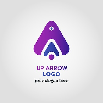 Colorful up arrow logo template with 3 various objects