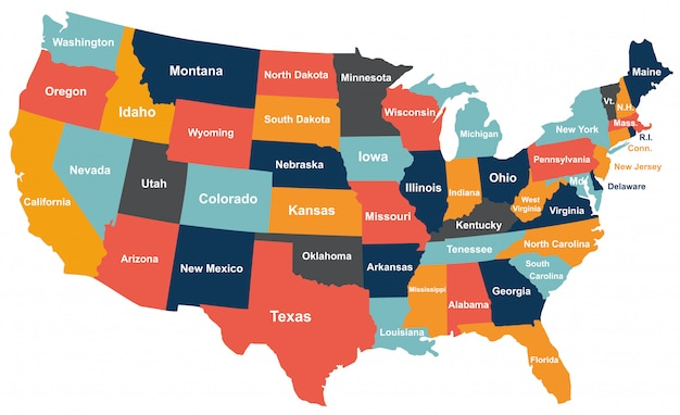 Colorful usa map with states.