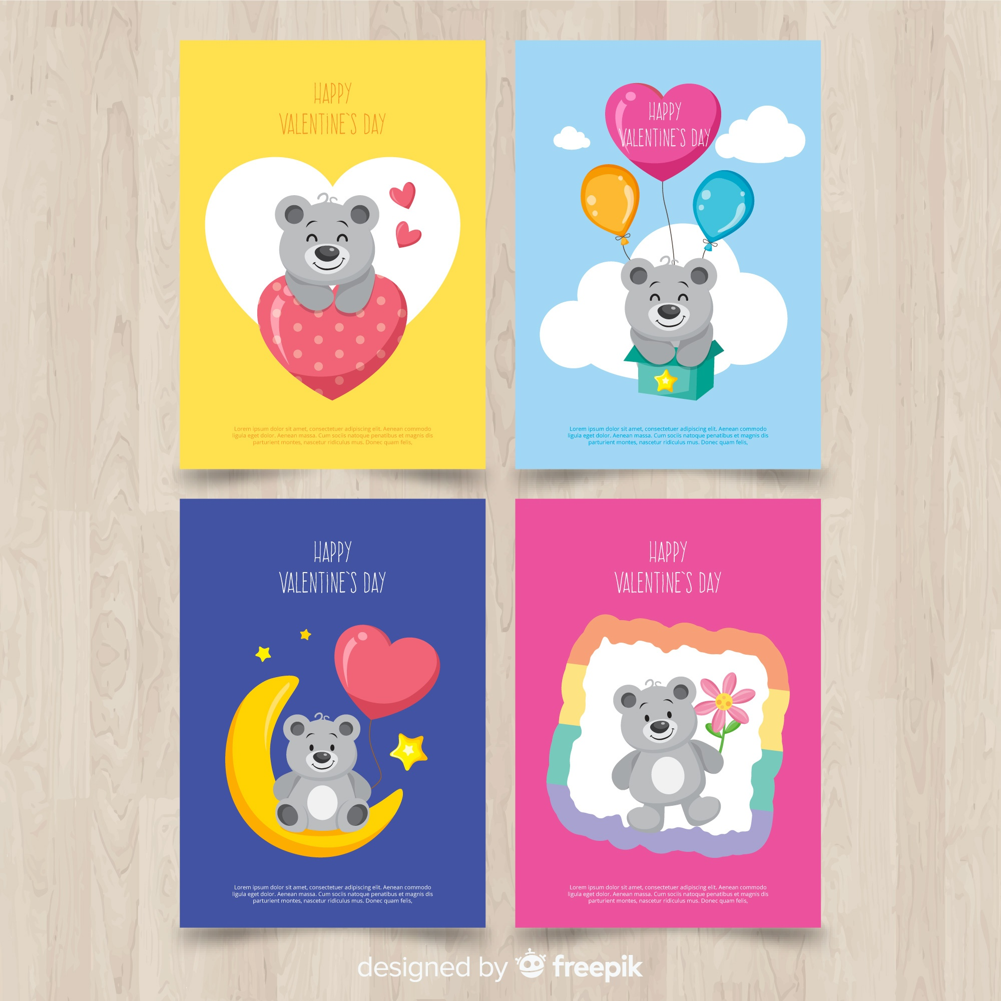 Colorful valentine card collection