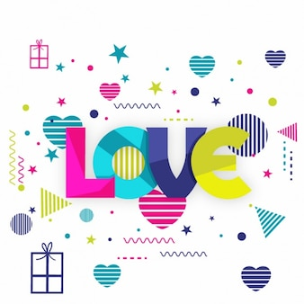 Colorful valentine's background with geometric shapes