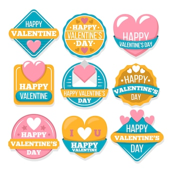 Colorful valentine's day badge collection