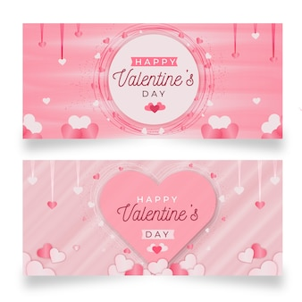 Colorful valentine's day banners