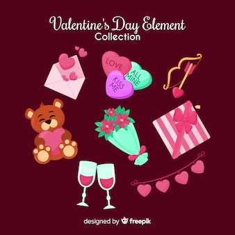 Colorful valentine's day elements collection